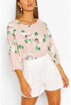 Blush pink Floral Print Batwing Sleeve Blouse