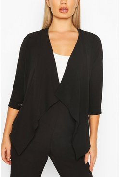 Waterfall Zip Detail Blazer, Black Чёрный