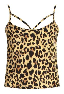 Brown Leopard Print Cut Out Cami