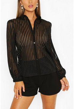 Black Sheer Stripe Long Sleeve Shirt