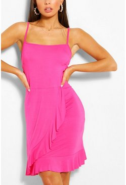 Hot pink pink Strappy Ruffle Detail Sundress