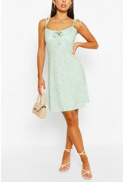 Sage Ditsy Floral Strappy Swing Dress