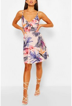 Ivory Floral Print Strappy Bow Detail Sundress