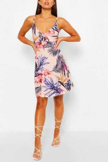 Ivory white Floral Print Strappy Bow Detail Sundress