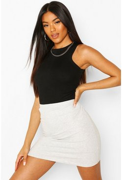 Grey marl grey Core Basic Jersey Mini Skirt