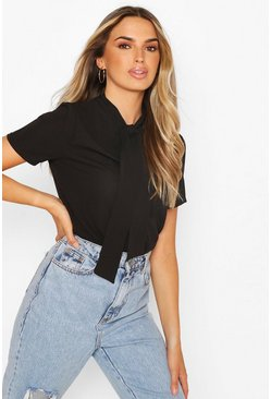 Black Woven Pussy Bow Short Sleeved Blouse