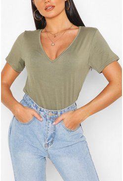 Khaki Basic Super Soft V Neck T-Shirt