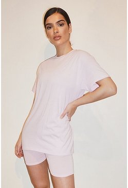 OVERSIZED TSHIRT AND SHORT SET, Pink Розовый
