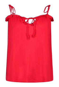 Red Ruffle Detail Tie Shoulder Strap Cami