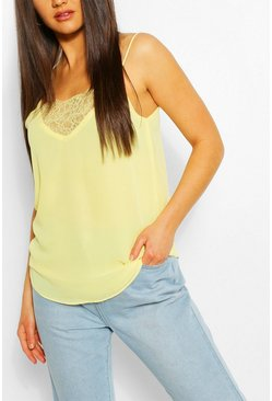 Lemon yellow Lace Insert Woven Cami Top BLACK L