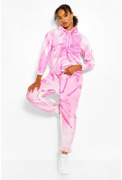 JOGGING COUPE OVERSIZE EFFET TIE-DYE, Pink rose