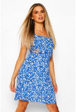 Blue Square Neck Printed Lace Up Mini Dress