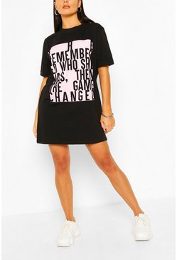 Black Colour Block Slogan T-shirt Dress