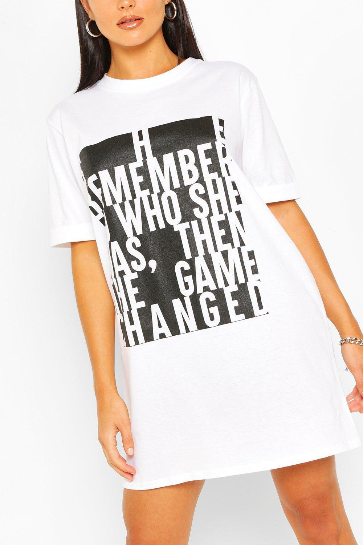 Womens Sale Colour Block Slogan T-shirt Dress