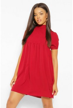 Berry Shirred Puff Sleeve Smock Dress