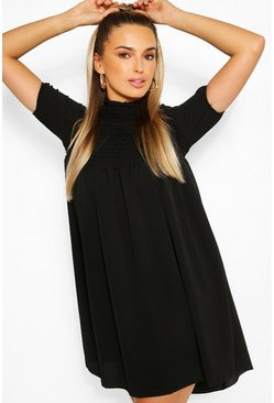 Black Shirred Puff Sleeve Smock Dress