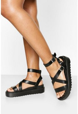 Chunky Cross Strap Cleated Sandals, Black negro