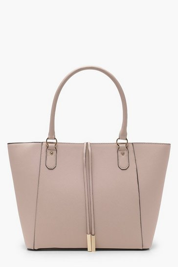 Blush pink Structured Cross Hatch Tote Bag