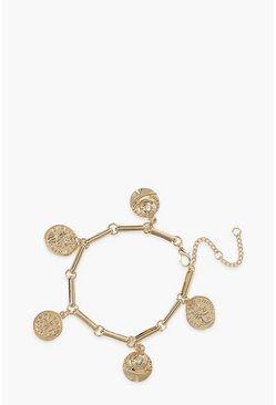 Gold metallic Detailed Coin Charm Bracelet