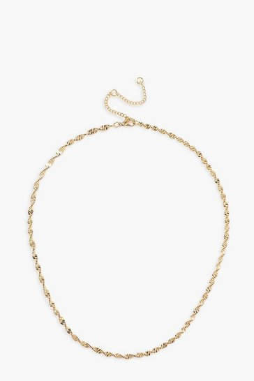 Gold metallic Twisted Chain Necklace