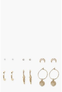 Gold metallic Pearl Coin Hoop & Stud Earring Multi Pack