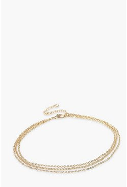 Gold Triple Chain Detail Layered Anklet