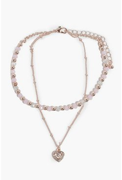 Pink Diamante Heart & Bead Detail Layered Anklet
