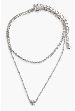 Crystal grey Heart & Diamante Layered Anklet