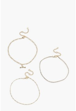 Gold metallic T Bar Chain Detail 3 Pack Anklets