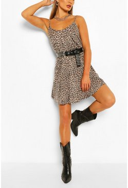 Brown Leopard Swing Dress