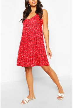 Red Ditsy Floral Swing Dress