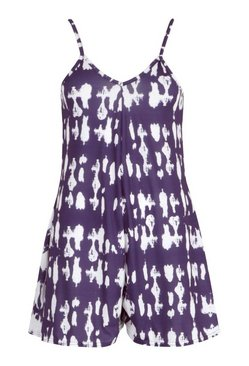 Navy Tie Dye Cami Swing Jersey Playsuit