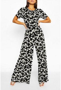 Black Daisy Print Puff Sleeve Wide Leg Jumpsuit