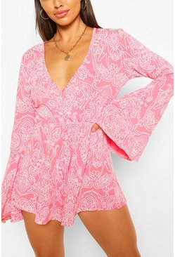 Coral Paisley Print Flare Sleeve Wrap Playsuit
