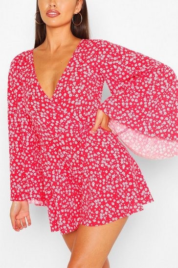 Red Ditsy Print Tie Front Flare Sleeve Playsuit