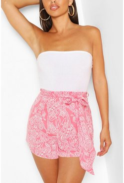 Red Paisley Print Frill Hem Flippy Shorts
