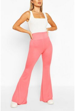 Coral Basic Jersey Flares