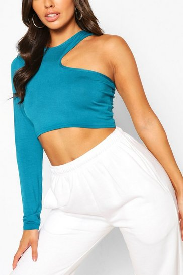 Teal green Green Cut Out Long Sleeved Crop Top