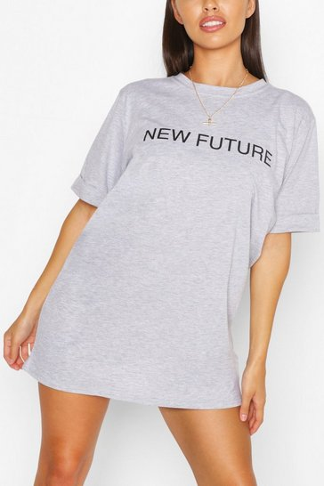 Grey marl New Future Slogan T-shirt Dress