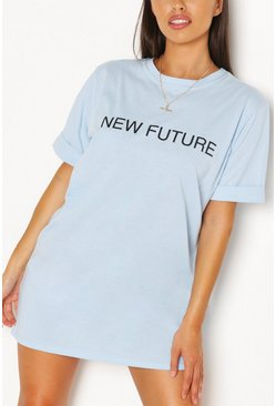 Sky blue New Future Slogan T-shirt Dress