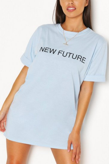 Sky New Future Slogan T-shirt Dress