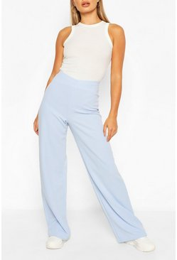 Baby blue blue High Waist Basic Crepe Wide Leg Trousers
