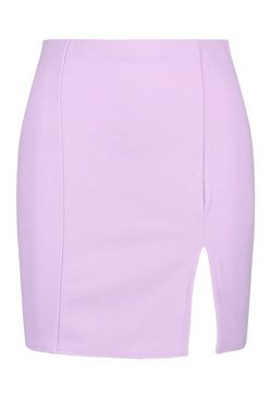 Lilac Pastel Split Front Mini Skirt