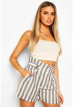 Blue Linen Look Stripe Button Detail Paperbag Shorts