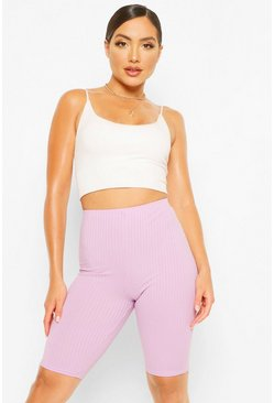 Violet purple High Waist Ribbed Cycling Shorts