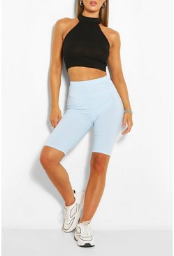 Pale blue blue High Waist Ribbed Cycling Short
