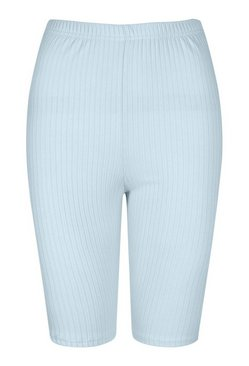 Pale blue High Waist Ribbed Cycling Short