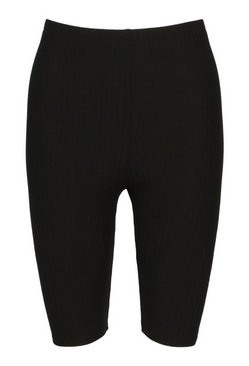 Black High Waist Ribbed Cycling Shorts
