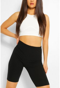 Black High Waist Neon Rib Cycling Shorts