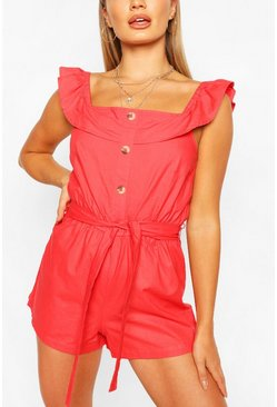 Coral pink Frill Strap Button Detail Belted Playsuit